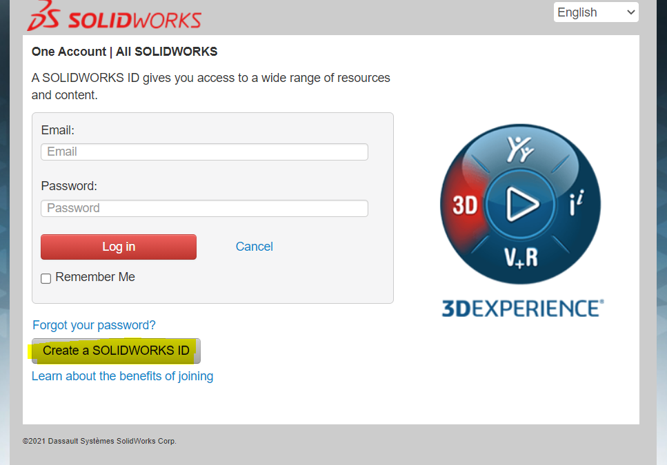 Create your own SOLIDWORKS ID or Customer Portal Account