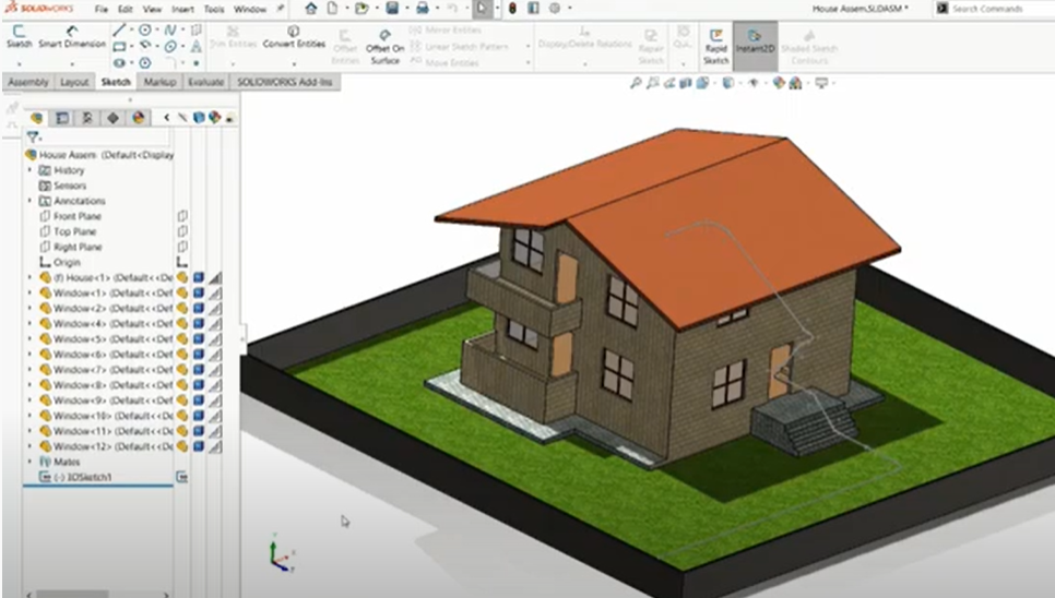 Creating animation with SOLIDWORKS animation function with camera views